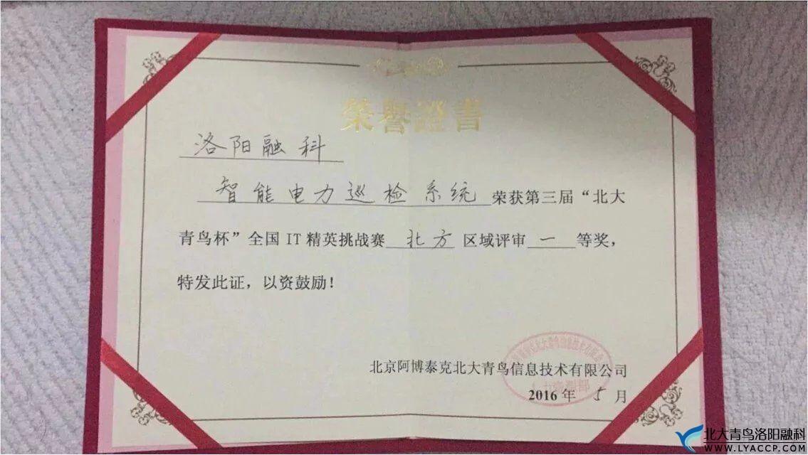 """洛阳融科北大青鸟,荣获""""北大青鸟""""杯,IT精英挑战赛第一名!"""
