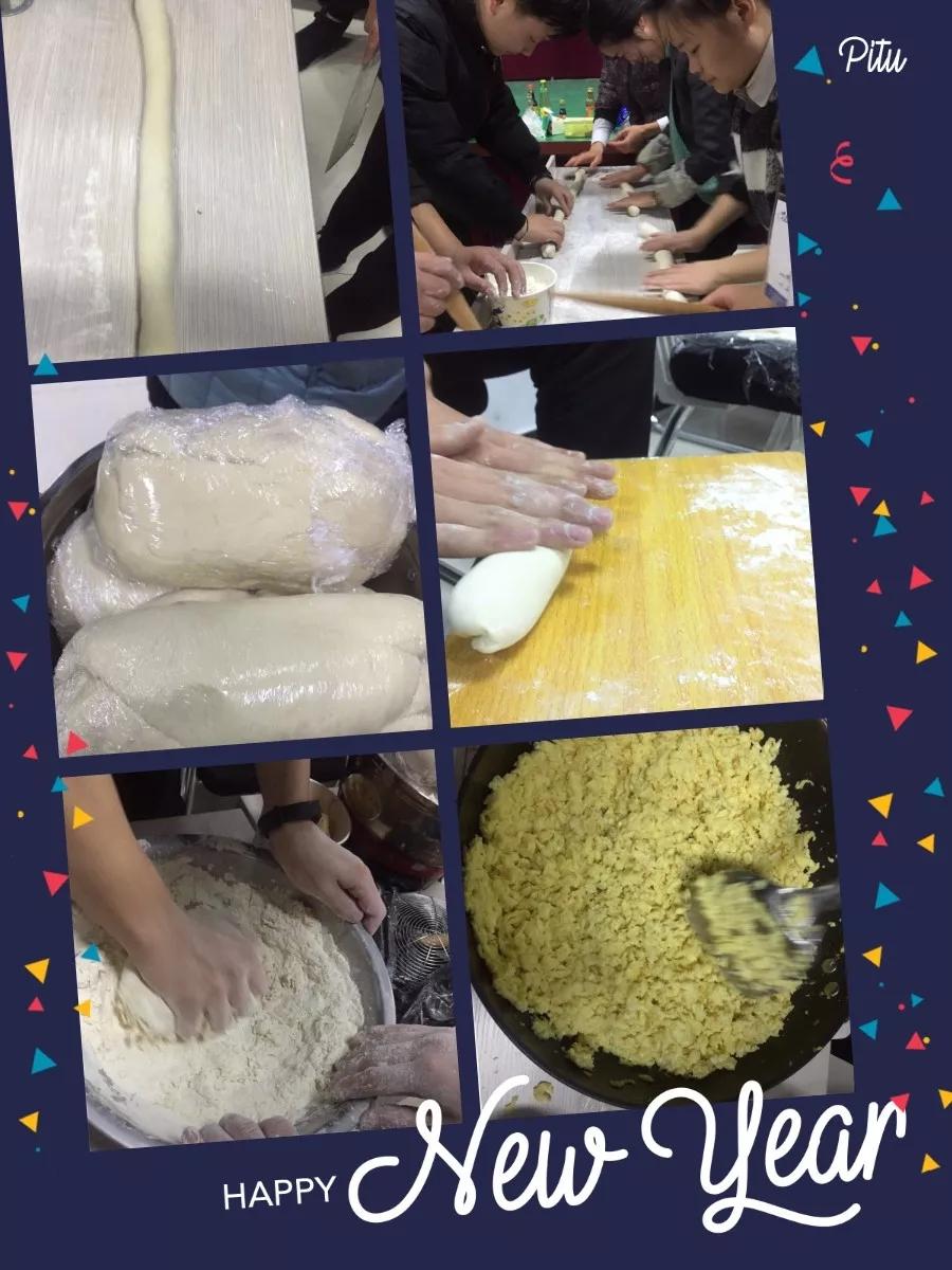 北大青鸟学校包饺子活动擀皮和面